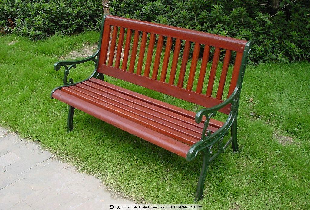 公园椅子 草地 绿色 3人椅子 白天 建筑园林 其他 公园设施 摄影图库