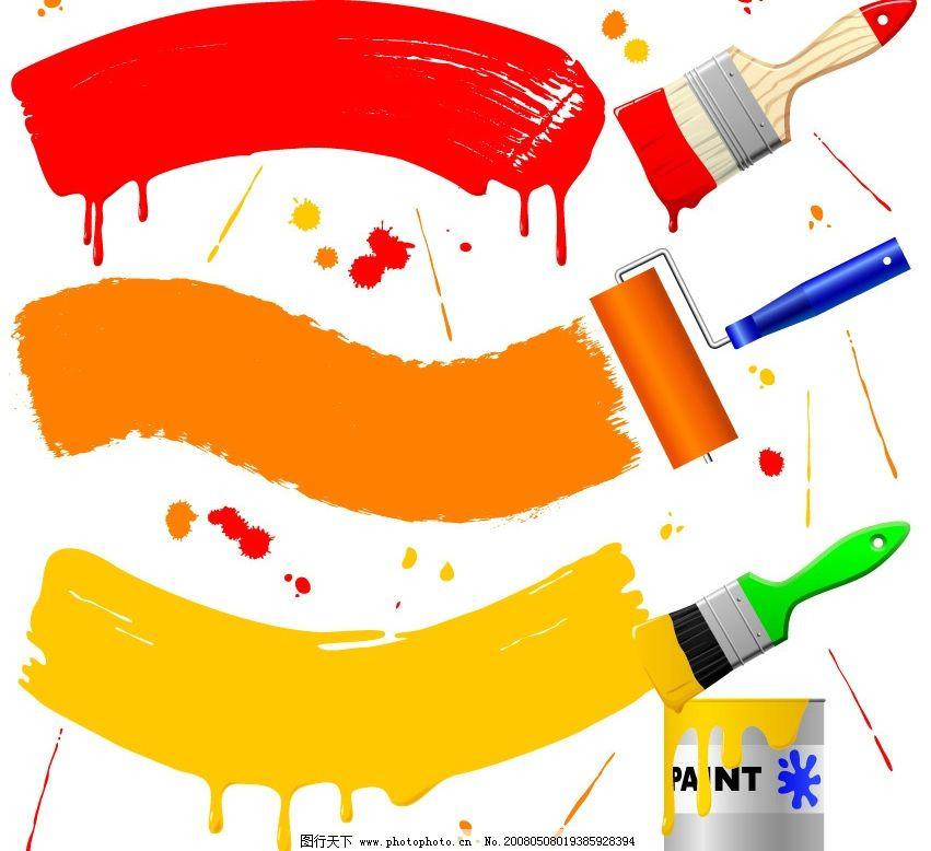 刷油漆 油漆 刷子 彩色油墨 墨迹 油漆桶 墨点 油漆扫 节日素材 春节