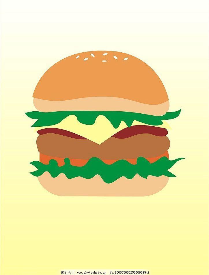 汉堡 卡通汉堡 矢量图库