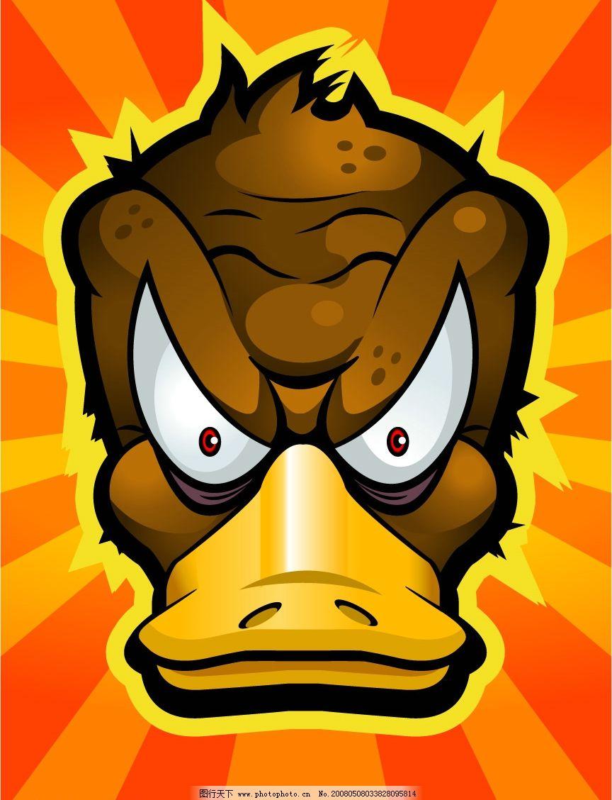 卡通发怒鸭图片