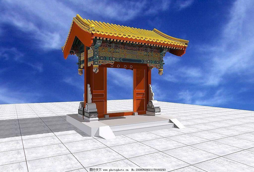 清式垂花门 仿古 木结构 3d设计 大门 设计图库 72 jpg
