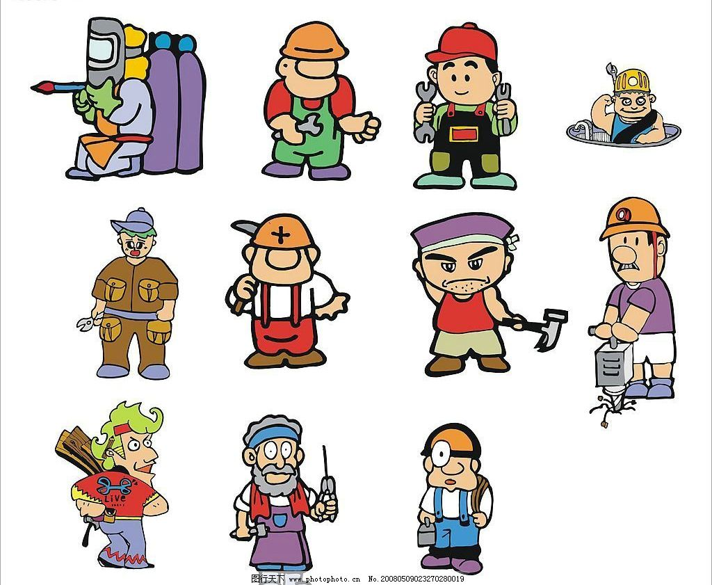 职业卡通人物 卡通人物 人 职业卡通 矢量人物 职业人物 矢量图库