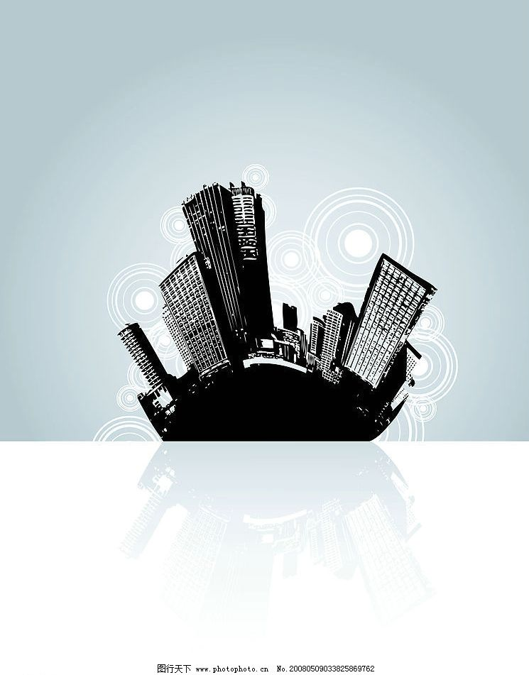 黑白城市 黑白建筑物 其他矢量 矢量素材 矢量图库   eps