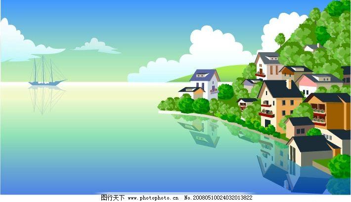 印象江南 ai文件 自然景观 自然风景 矢量图库   ai