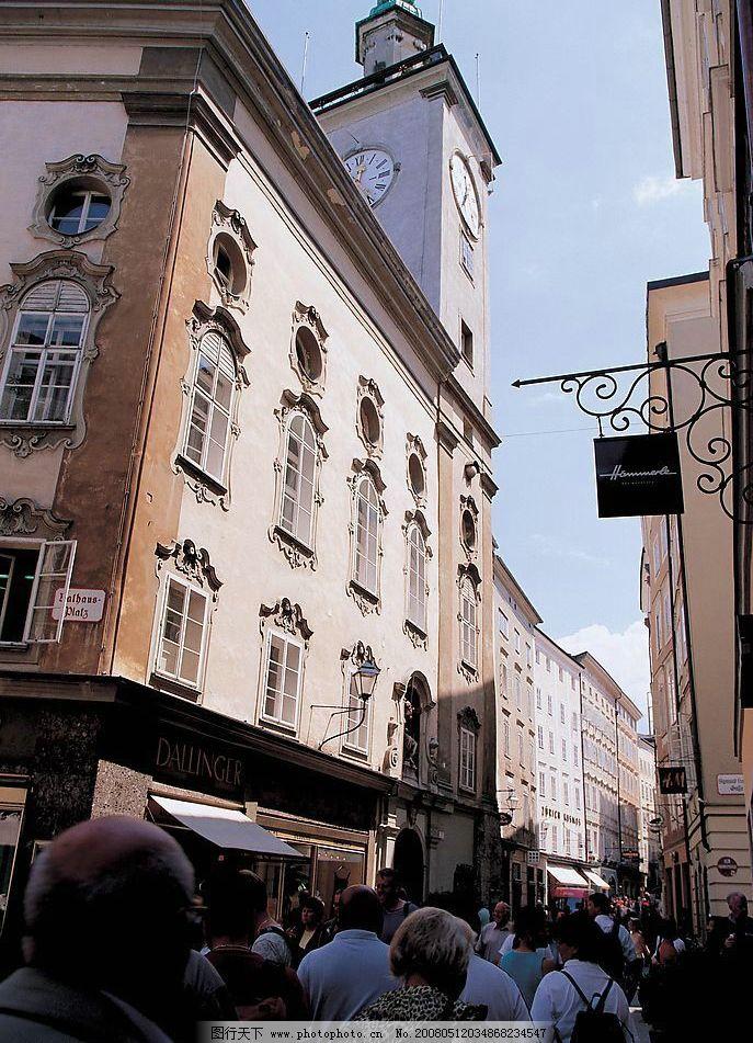 奥地利街边建筑物 街道 风景 摄影图库