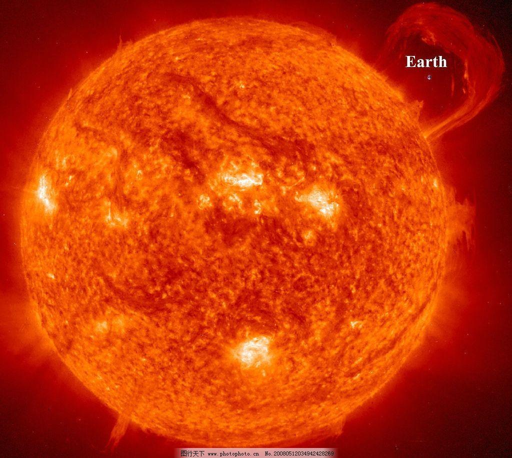 太空中的太阳和地球图片