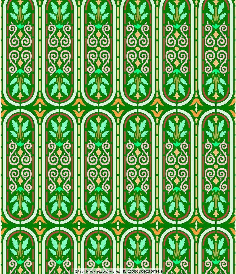 中东四方连续图案 绿色 线条表现简单 可拼接 底纹边框 底纹背景