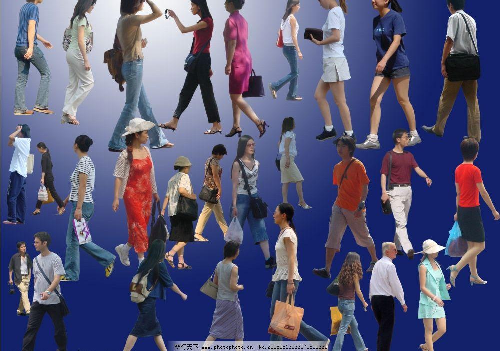 效果图 后期素材 各种人物 侧面 侧视 男人 女人 行人 人群 已抠好