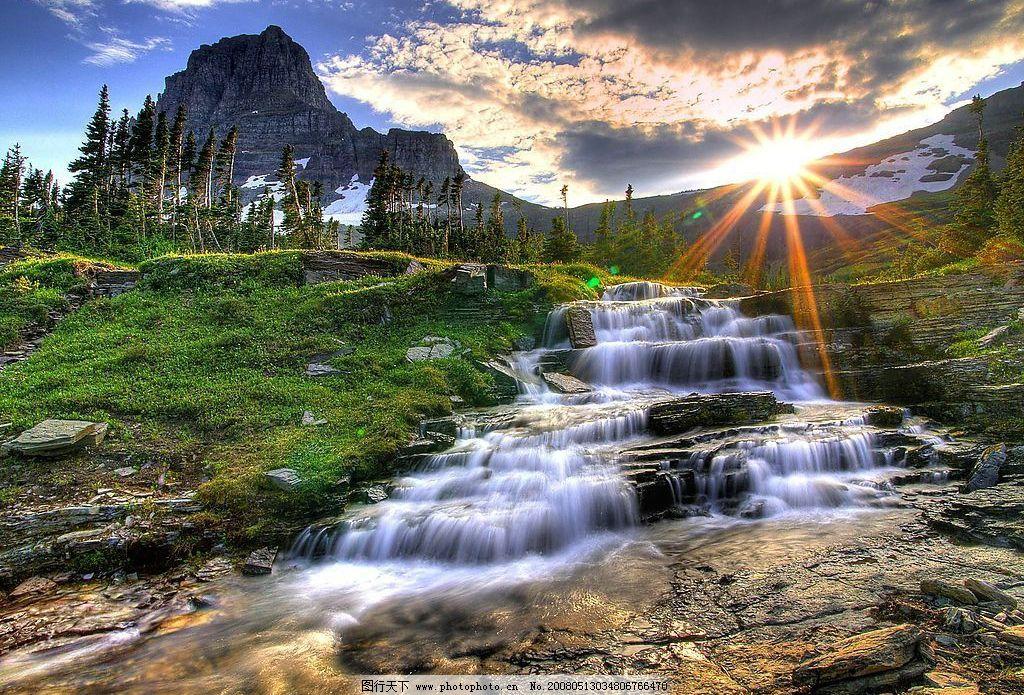 风景图片 山,水,草地,石头,白云,太阳,蓝天 自然景观 自然风景 摄影