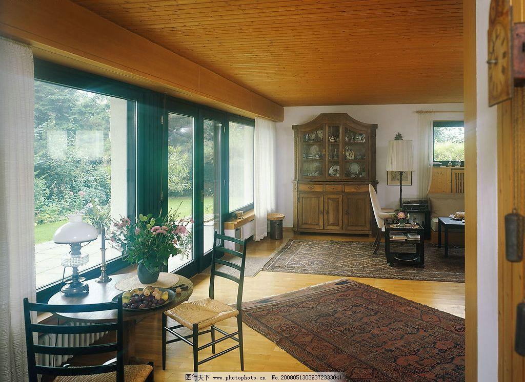 家居室内设计 家居设计 圆桌 椅子 植物 花 玻璃窗 壁橱 地毯 建筑
