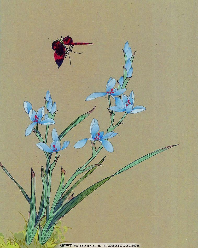 兰花与蝴蝶 兰花 蝴蝶 飞舞 文化艺术 绘画书法 设计图库 72 jpg