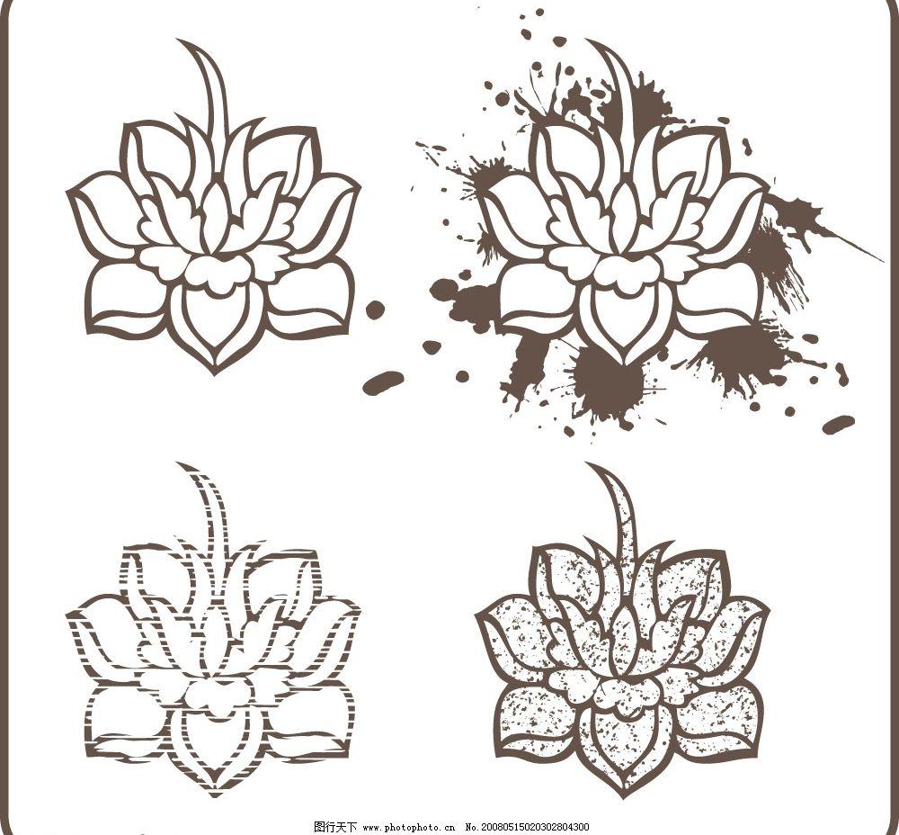 水墨画莲花 中国 传统 水墨画 莲花 底纹边框 花纹花边 矢量图库   ai