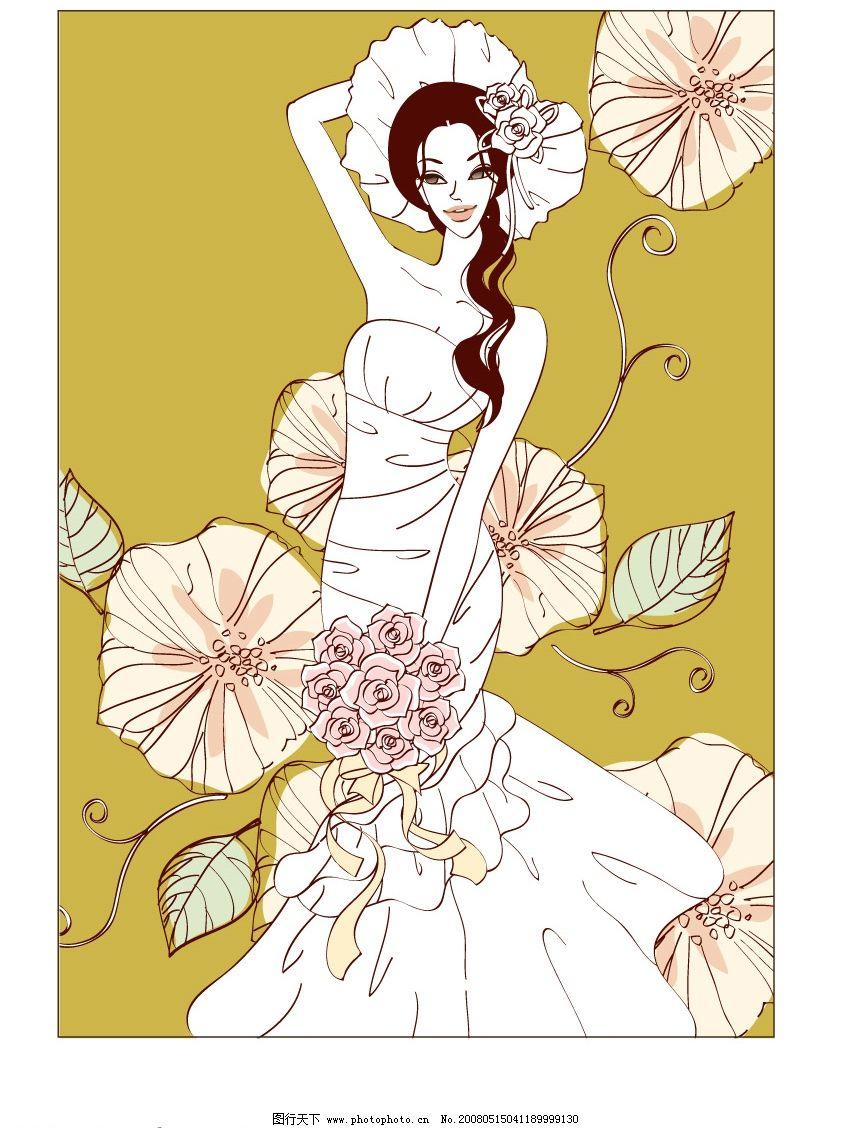 甜蜜婚姻矢量 新娘 鲜花 矢量人物 妇女女性 矢量图库   ai