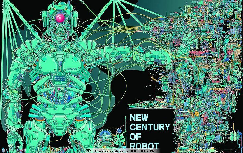 机器人矢量素材 机器人 机器 高科技 零件 科幻写实素材 矢量写实素材