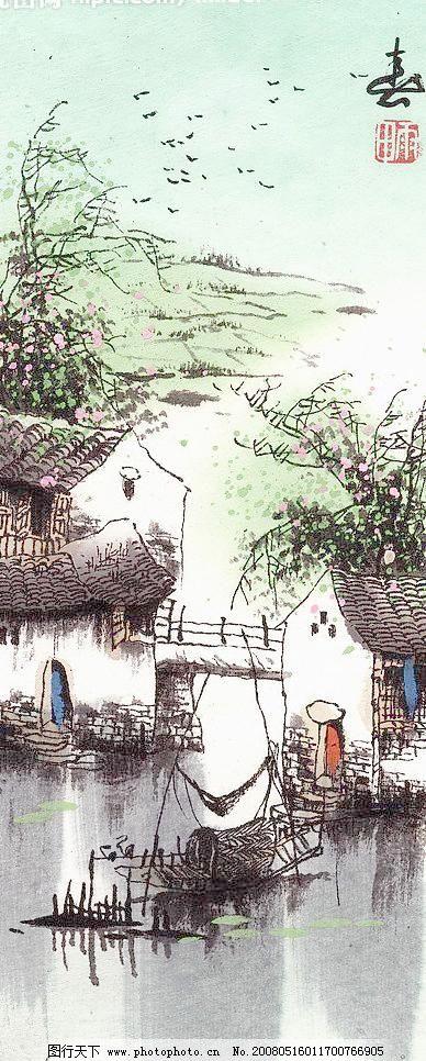 江南四季春 彩画 动漫动画 风景画 风景漫画 水墨画 江南四季春设计