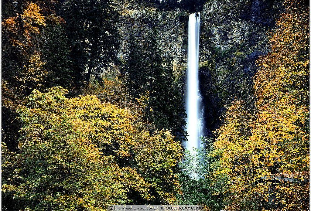 瀑布 山 水 树林 自然景观 自然风景 摄影图库 72 jpg