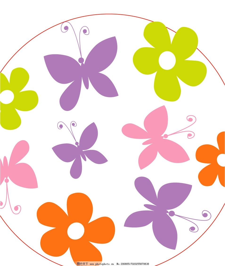 花瓣与蝴蝶底纹矢量图图片