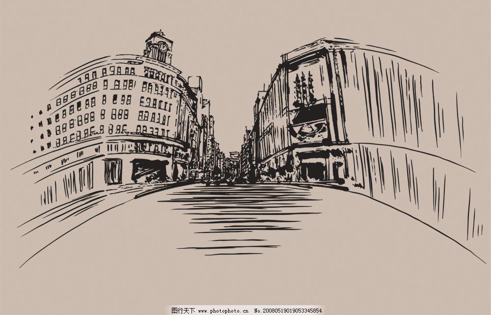 装饰老街 文化艺术 美术绘画 矢量图库   ai
