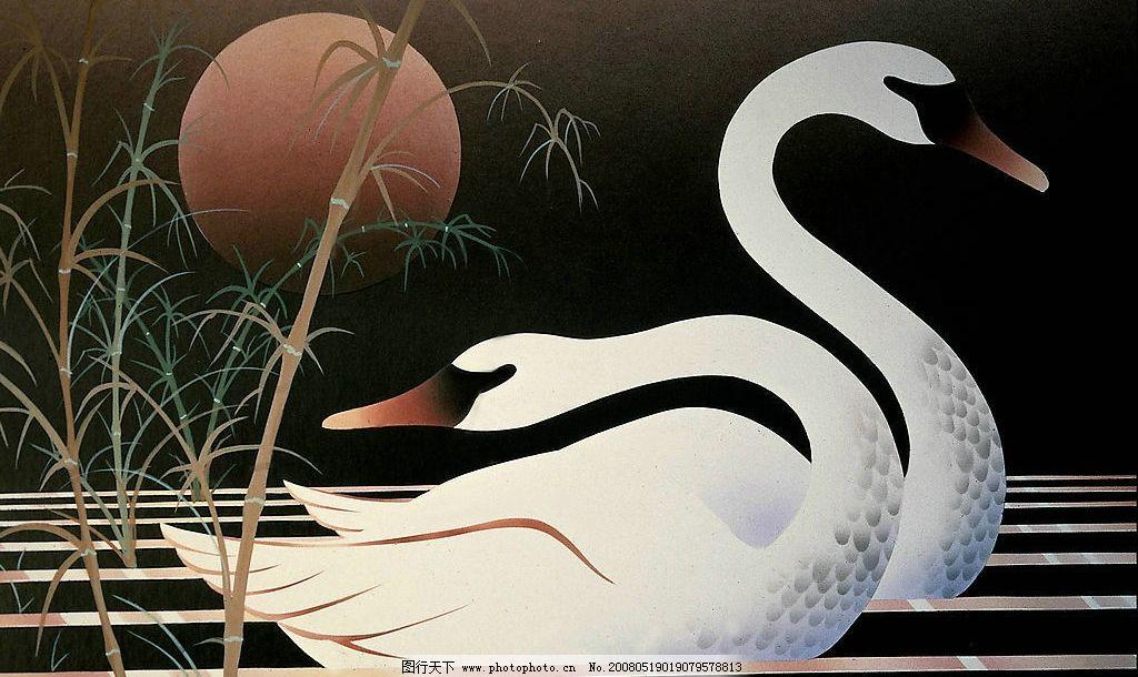 天鹅水彩画图片