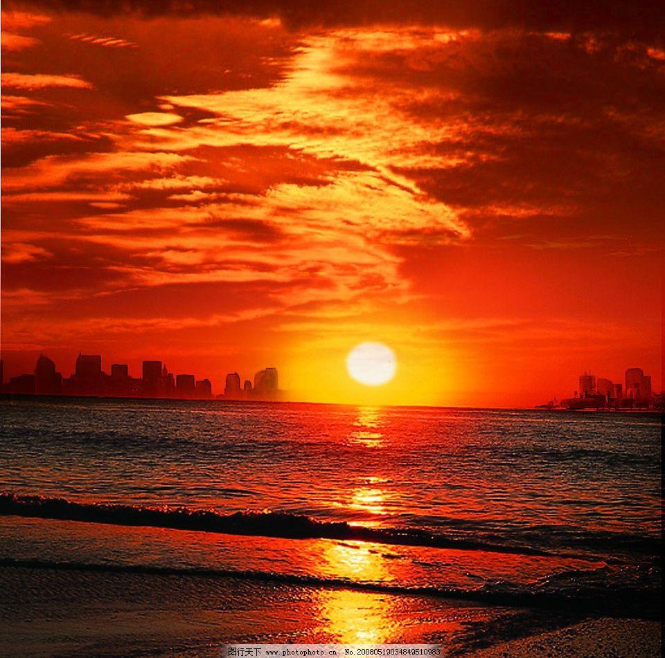 夕阳 日落 城市 海水 自然景观 自然风景 摄影图库 200 jpg