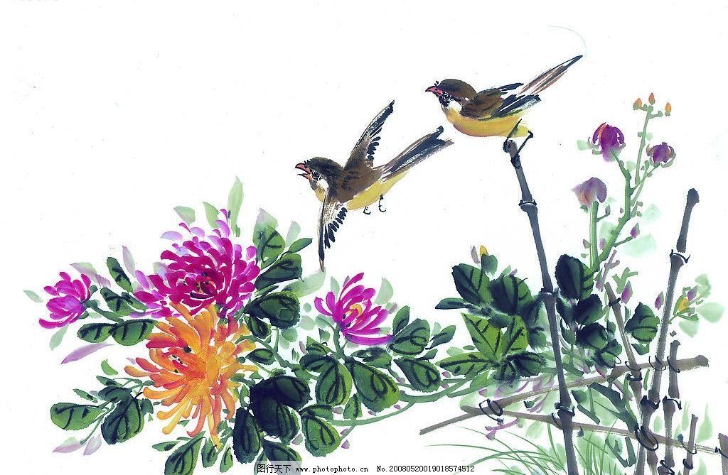 中国国画 花鸟 花 鸟 动物 水墨画 国画 中国画 绘画 艺术 文化艺术