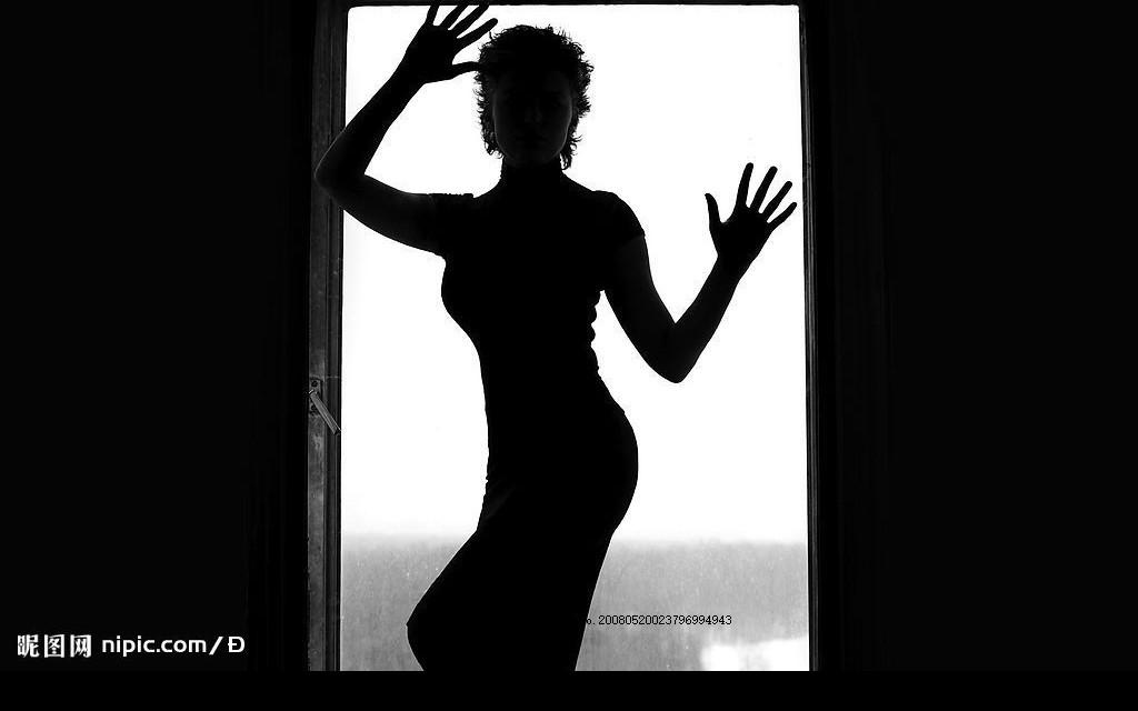 女性人物剪影 曲线 门前 女性女人 摄影图库