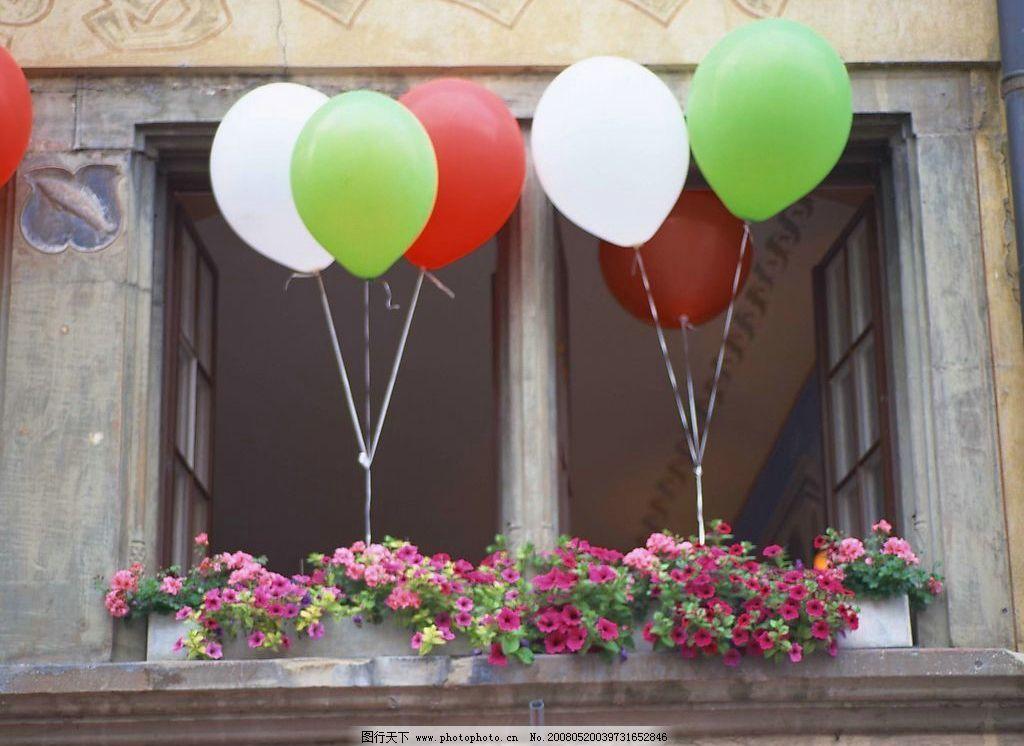 外窗绿化 气球 外窗 绿化 花朵 素材 摄影 建筑园林 其他 摄影图库 72