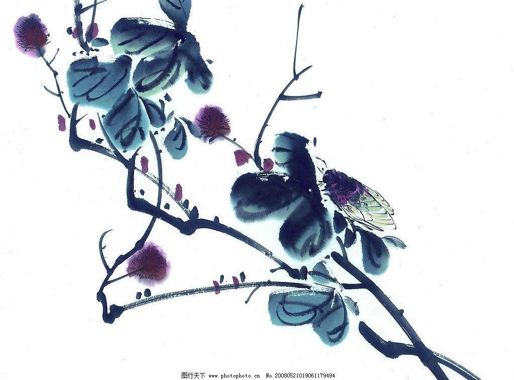中国国画 花鸟 花 鸟 动物 水墨画 国画 中国画 绘画 艺术 文化艺术-中国