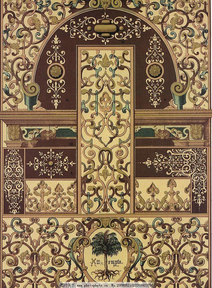 外国古典纹样 外国纹样 古典纹样 浮雕图案 古典壁画 装饰图 底纹边框