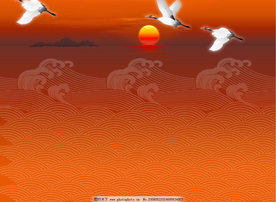 仙鹤 水浪 其他矢量 矢量素材 金龙腾飞 矢量图库 鸟类