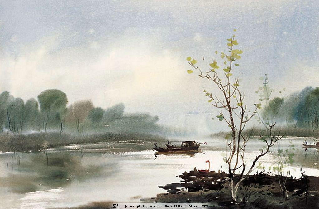 水天一色 风景 水彩 天空 舟 文化艺术 绘画书法