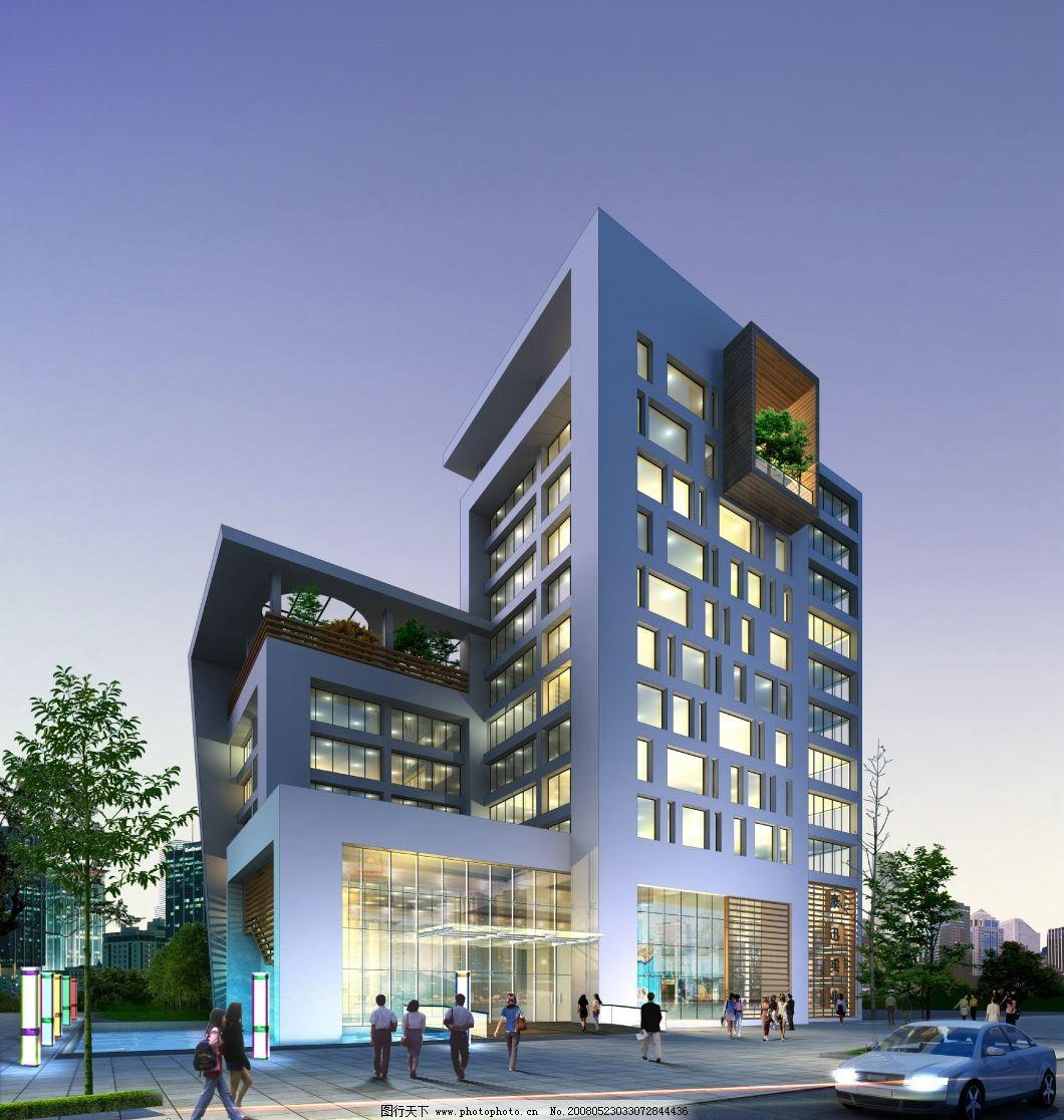 办公楼夜景透视 效果图 建筑效果图 商业楼 大厦 源文件库