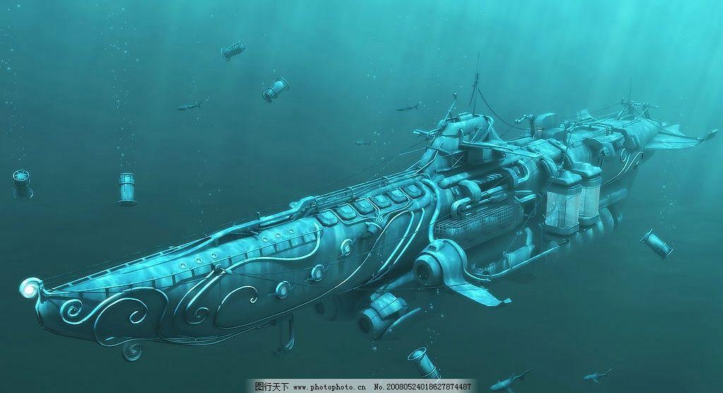 深海潜水艇 潜水艇 水雷 蓝色 深海 动漫动画 其他 设计图库 150 jpg