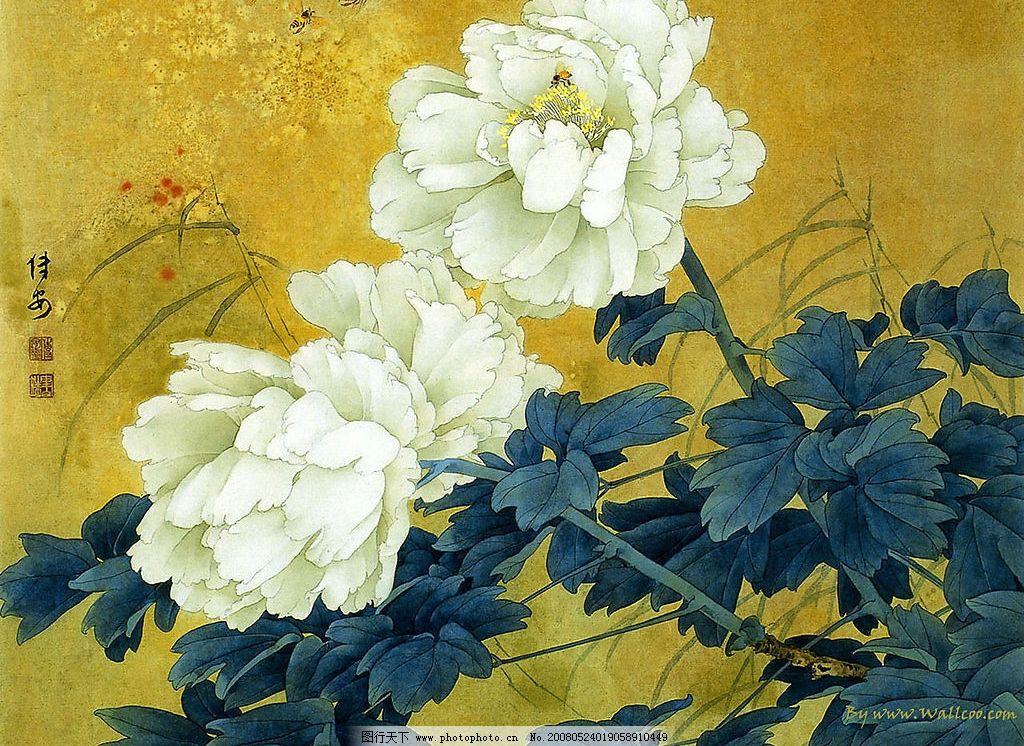 工笔画 牡丹 白色的花朵