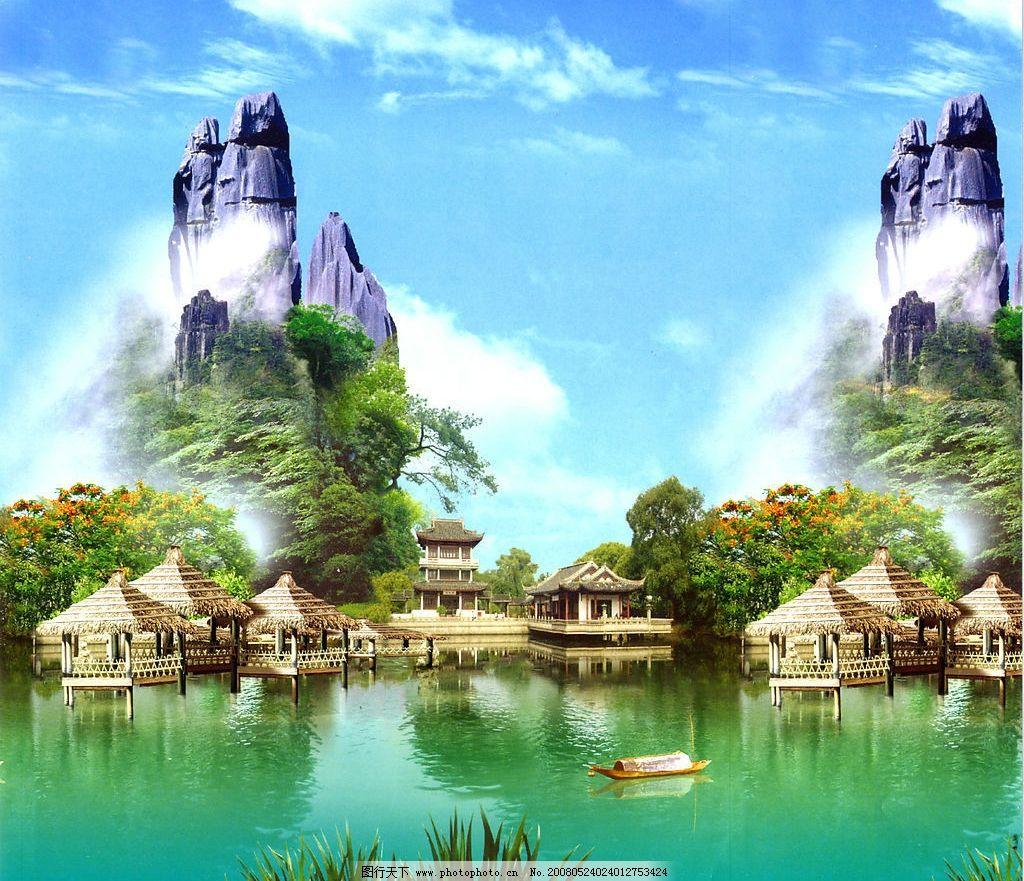 山水风景 山 水 树 古典建筑 船 自然景观 自然风光 设计图库 400 jpg