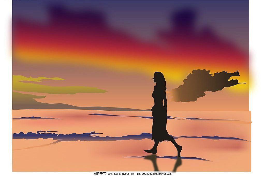 晚霞漫画手绘天空头像