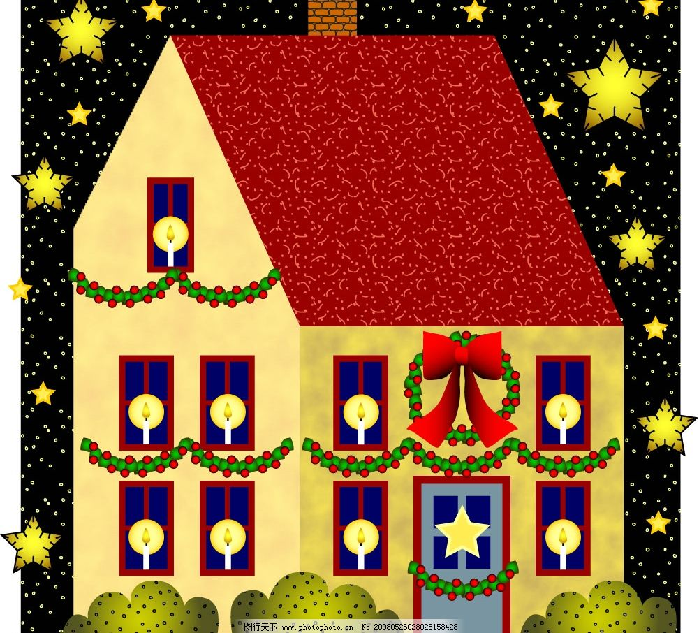 房子 矢量图 矢量房子 烛光 蜡烛 夜晚 天空 星星 五角星 星形