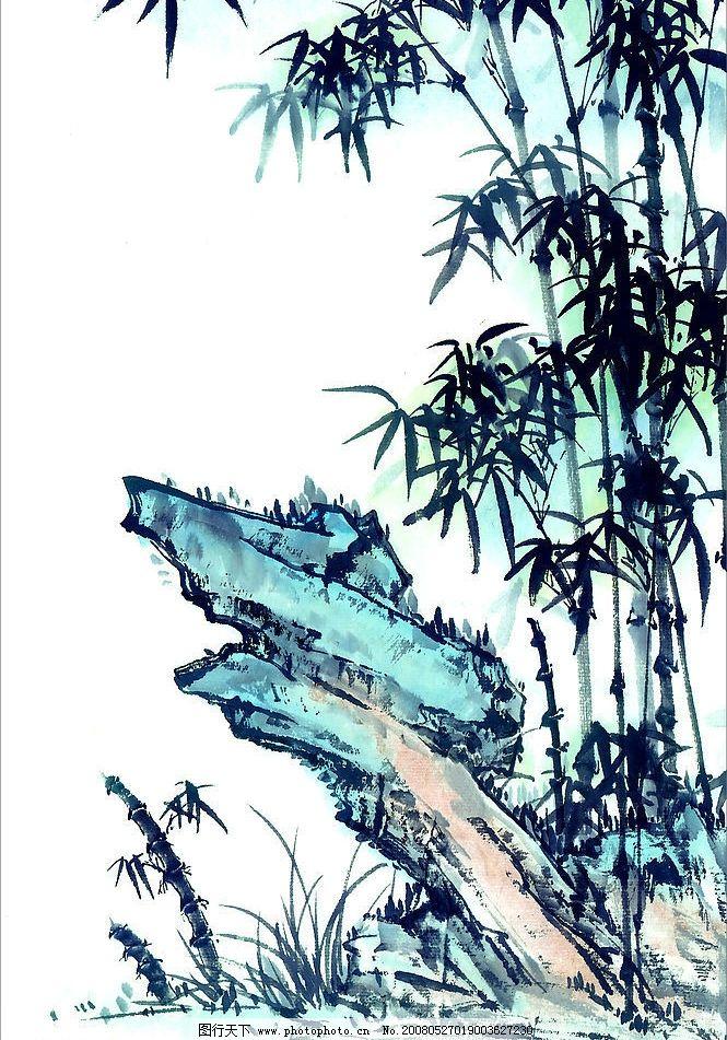 竹子-淡彩 竹子 国画 淡彩 水彩 文化艺术 绘画书法 设计图库 150 jpg