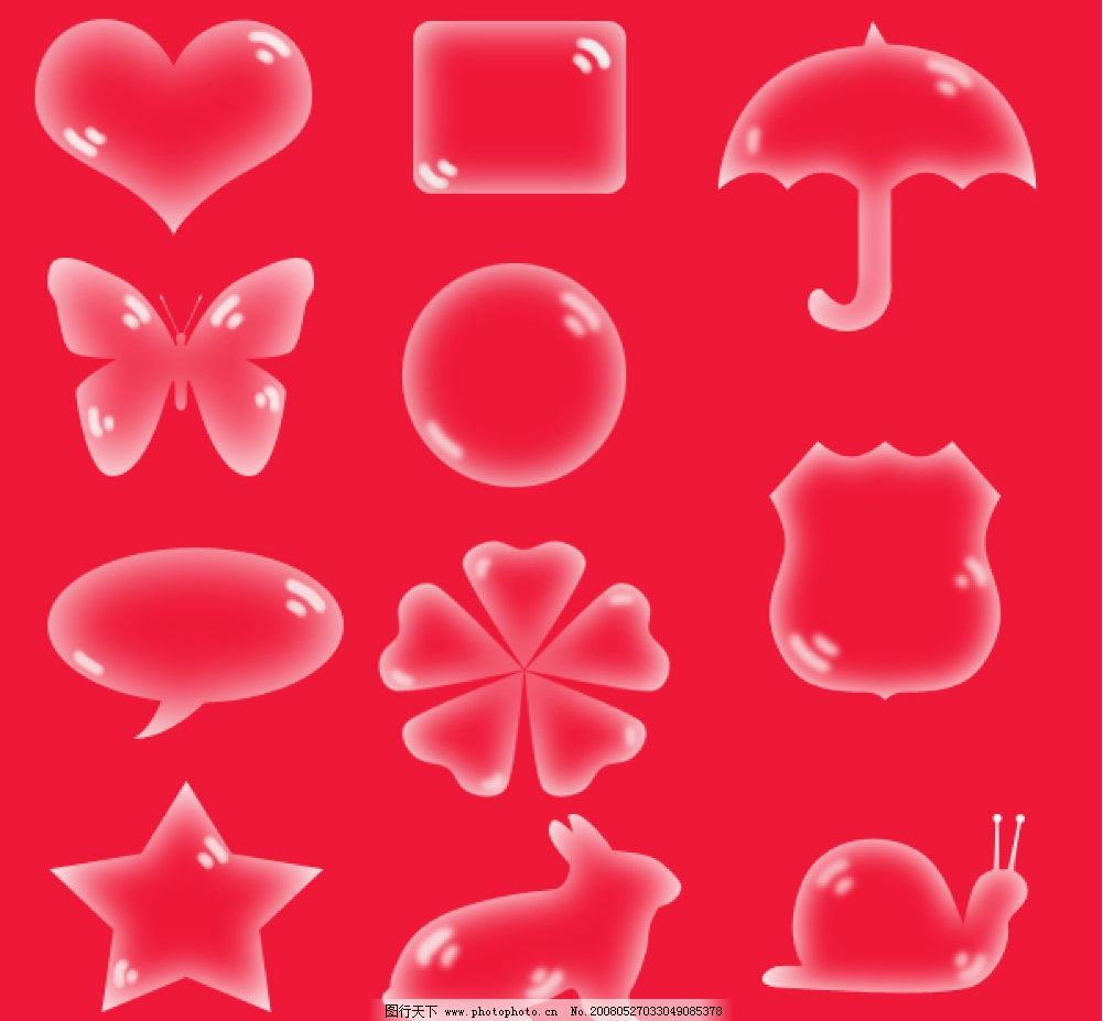 各种形状水泡 心形水泡 伞形水泡 蝴蝶形水泡 圆形水泡 矩形水泡 花