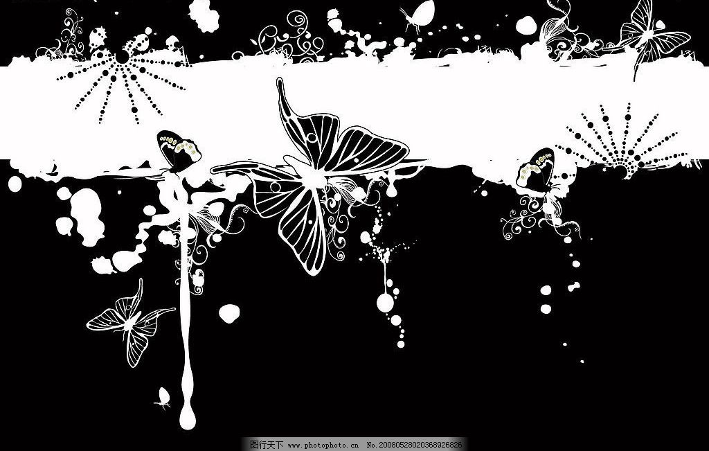蝴蝶花边 底纹边框 花纹花边 花框 矢量图库   eps