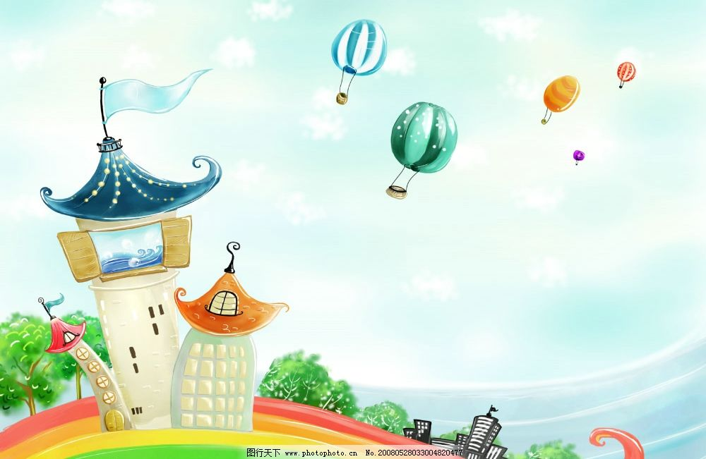 梦幻风景 梦幻 风景 热气球 城堡 大厦 森林 分层 psd psd分层素材 精