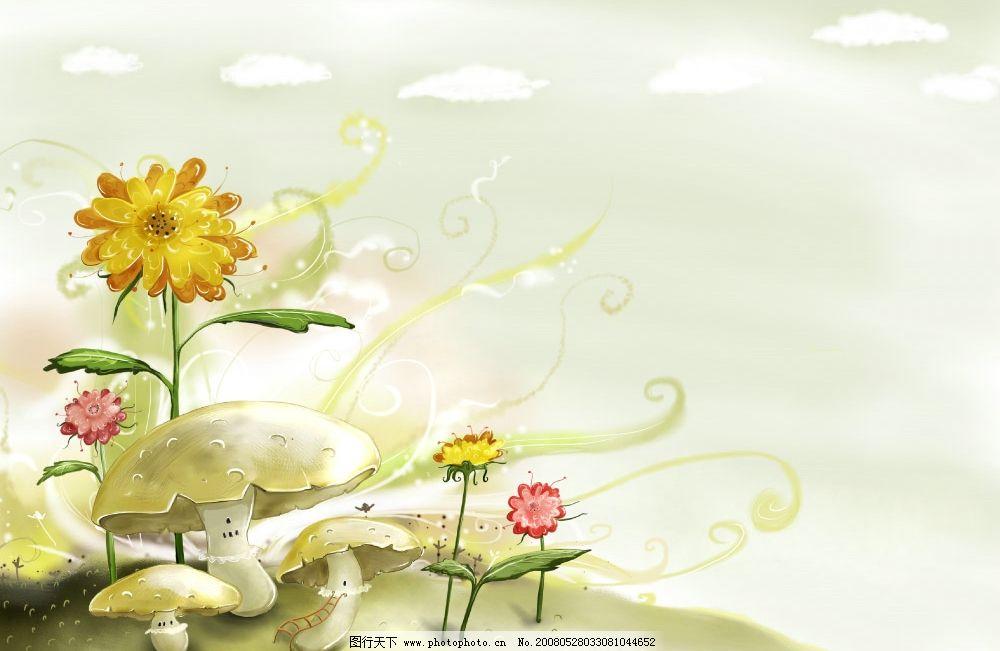 风景图片蘑菇1366x768