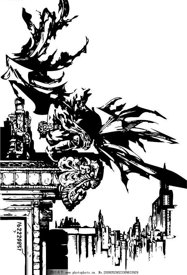 黑白线稿 摩天大厦 漫画英雄 手稿 插画 矢量人物 明星偶像 矢量图库