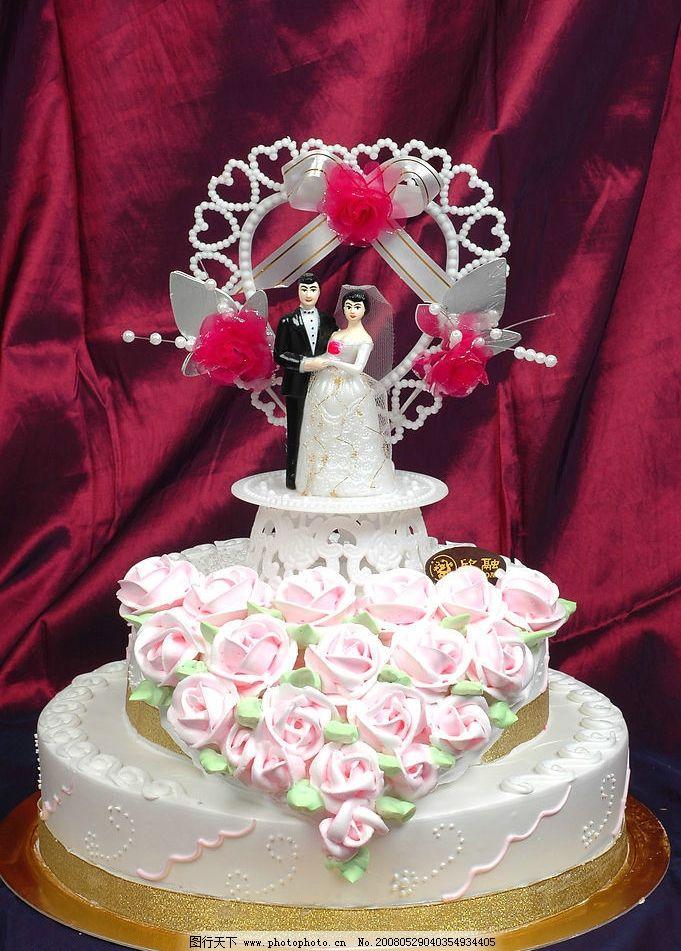 结婚蛋糕 蛋糕 玫瑰花 新鲜蛋糕 餐饮美食 西餐美食 摄影图库 300 jpg图片