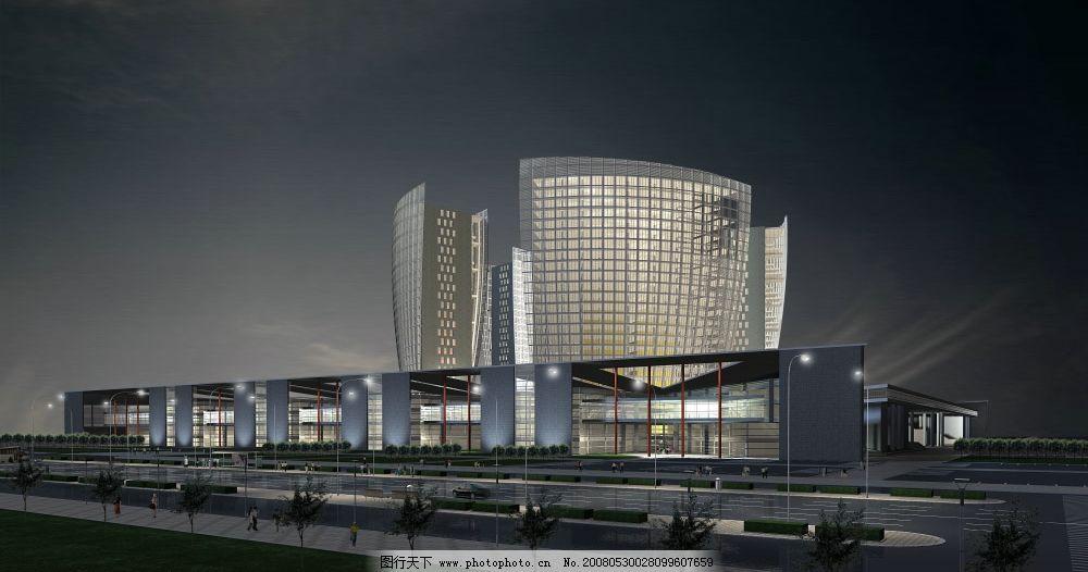建筑设计 建筑空间 建筑场景图 ps后期处理 室外效果图 大厦 夜景