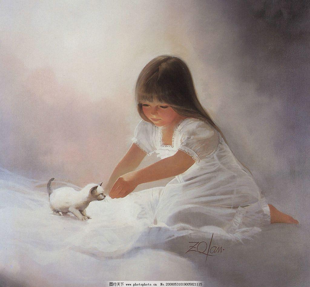天使小女孩绘画图片