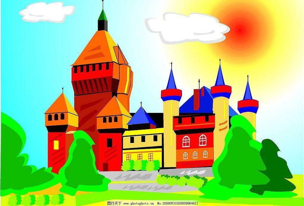 城堡 建筑 装饰 装饰画 建筑家居 城市建筑 矢量图库   cdr