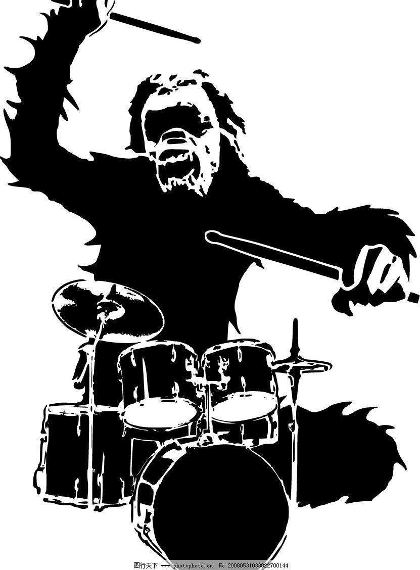 热爱音乐的猩猩鼓手 大猩猩 架子鼓 潮流 其他矢量 矢量素材 矢量图库