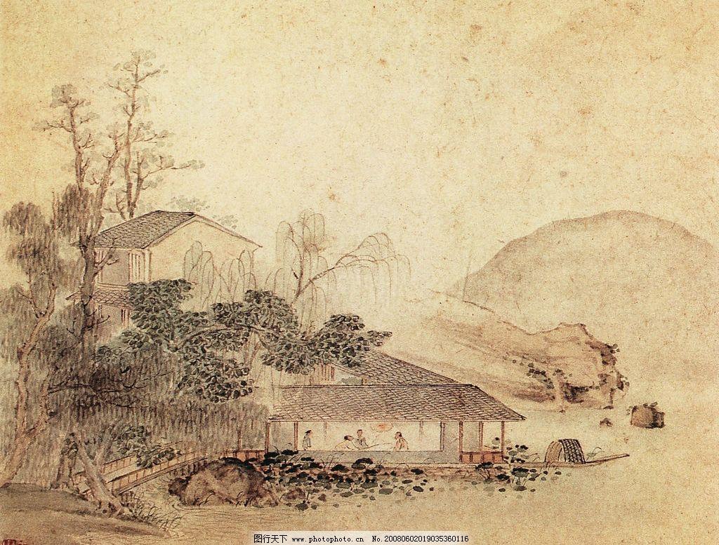 山水画 古画 古代山水画 国画 中国画 绘画 文化艺术 绘画书法 设计图