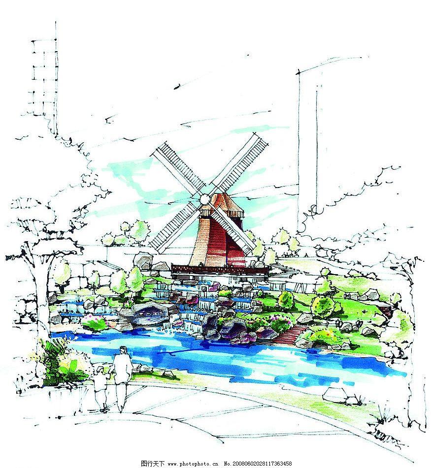 住宅小区的景观手绘图-1311